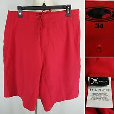 OKALEY Men's Size 34 Solid Red Board Shorts Swim Trunks Polyester Back Zipper