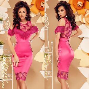 Abendkleid-Cocktail-Party-Etui-Mini-Damen-Kleid-Satin-Spitze-Fransen-kurz-Pink