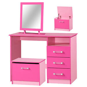 3 Piece Girls High Gloss Pink Bedroom Vanity Dressing