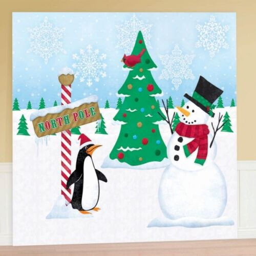 Christmas Xmas Snowman Wall Hanging Decoration Scene Setter Giant Decorating Kit