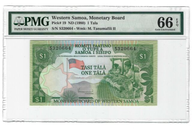 WESTERN SAMOA $1 Tala 1980, P-19 Monetary Board, PMG 66 EPQ GEM UNC, Scarce