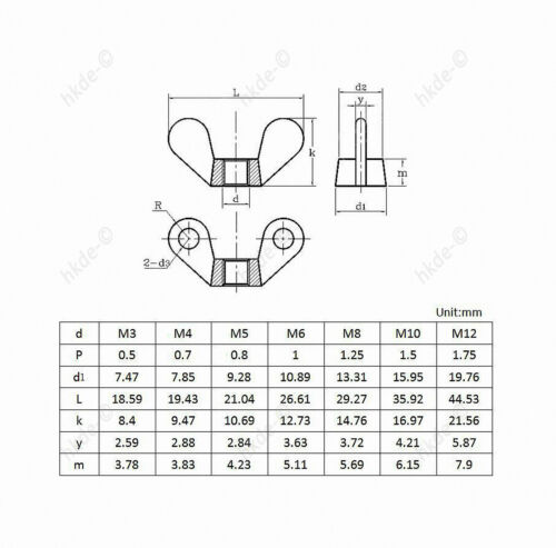 Flügelmuttern DIN 315 Edelstahl A2 Flügel Muttern M3 M4 M5 M6 M8 M10 M12