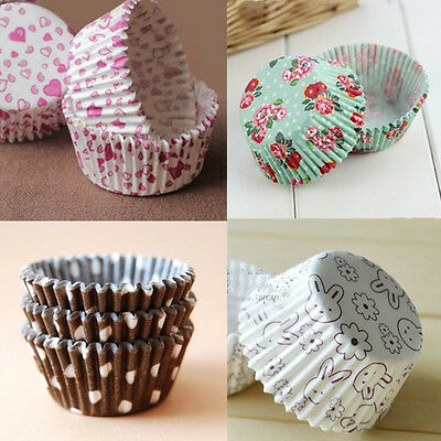 100x Xmas Paper Cake Cup Liners Baking Cupcake Muffin Cases Wedding Xmas Party