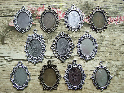 18x25mm Oval Cameo Cabochon Frame Bezel Settings Pendants Blank Base Trays