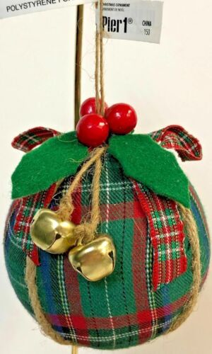 Pier 1 Red And Green Plaid Christmas Ball Ornament New