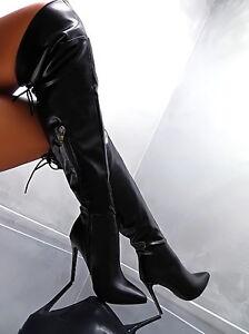 2017 luxus hohe overknee stiefel schwarz warm boots j35. Black Bedroom Furniture Sets. Home Design Ideas