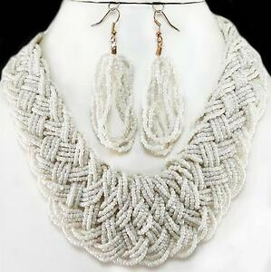 Necklace-Earrings-Cream-Seed-Bead-Braided-Chunky-Woven-Jewelry-Set-Acrylic