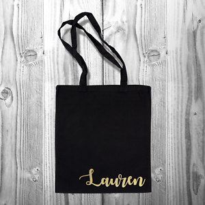 Personalised Name Tote BagCustom Cotton Shopping Shopper Carrier Bag for Life