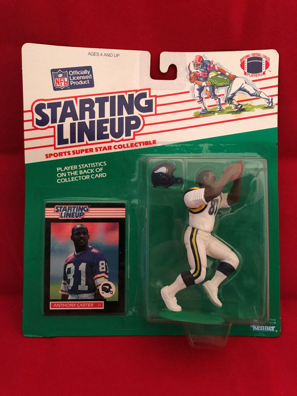 1989 ANTHONY CARTER STARTING LINEUP SLU MINNESOTA VIKINGS RARE