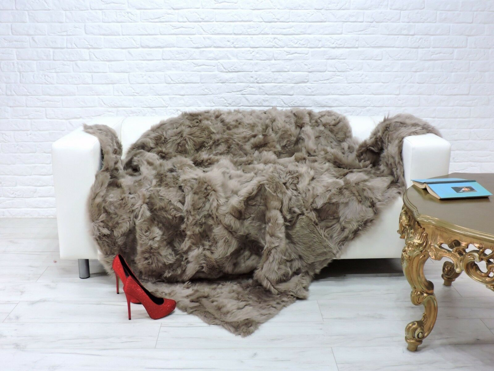 REAL TOSCANA THROW BLANKET BED SOFA COVER MINK  Farbe   216