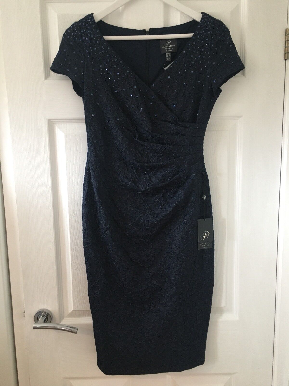 NEW - ADRIANNA PAPELL JACQUARD DRESS WITH PLEATED WRAP FRONT - NAVY SIZE