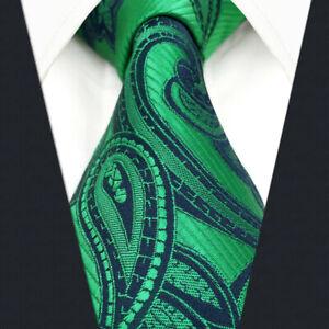 shlax/&wing Mens Necktie Paisley Green