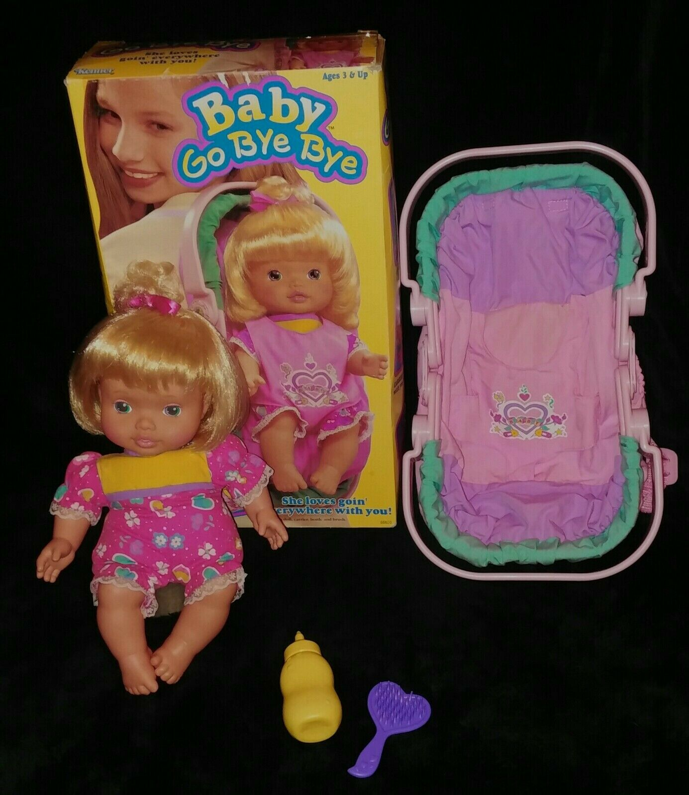1995 Vintage Kenner Baby All Gone Go Bye Bye Doll Bottle & Carrier COMPLETE+ BOX