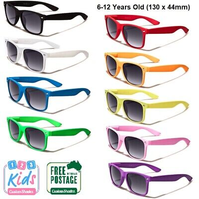 Boys Girls Classic Black Retro Frame Childrens Sunglasses 6-12 years Kids