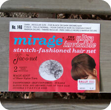 Mirage By Jac-O-Net Nylon 2 Hair Nets With Elastic Dark Invisible Regular Size