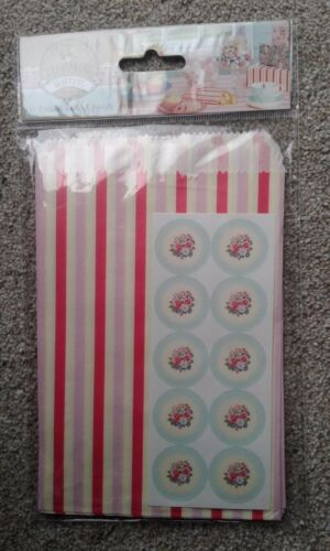 X10 vintage paper treat bags wedding favours sweets seals pink candy stripe bag