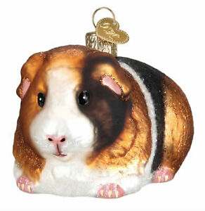 Guinea-Pig-Ornament-Old-World-Christmas-New-Blown-Glass-Glitter-Accents