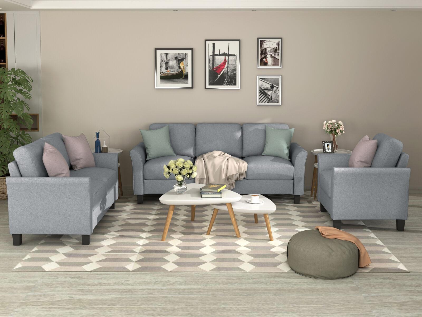 Sofa Set 3 2 1 Fabric Couch Design