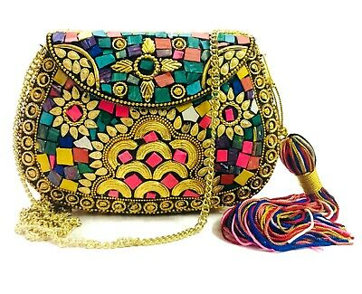 Green Turquoise Women//Girls Bridal clutch party sling bag mosaic metal bag antique ethnic Indian purse