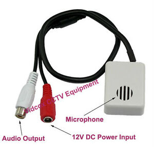 High Sensitivity Wide Range Spy CCTV Microphone Mic 12V Loop out CCTV DVR Camera