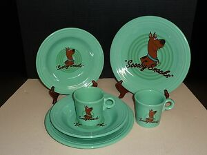 Two-3-Piece-Place-Settings-Homer-Laughlin-Scooby-Doo-Fiesta-Ware-Plate-Bowl-Mug