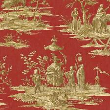 Wallpaper Designer Asian Tan Beige Toile on Rusty Red Background