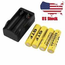 4pcs 18650 3.7V 9800mAh Yellow Li-ion Rechargeable Battery Cell Torch +Charger M