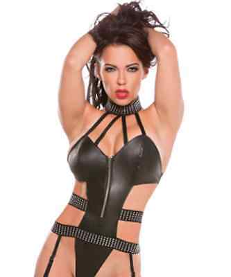 Sexy Woman Lingerie Wet Look PVC Strappy Teddy G-String Thong Suspenders UK 128