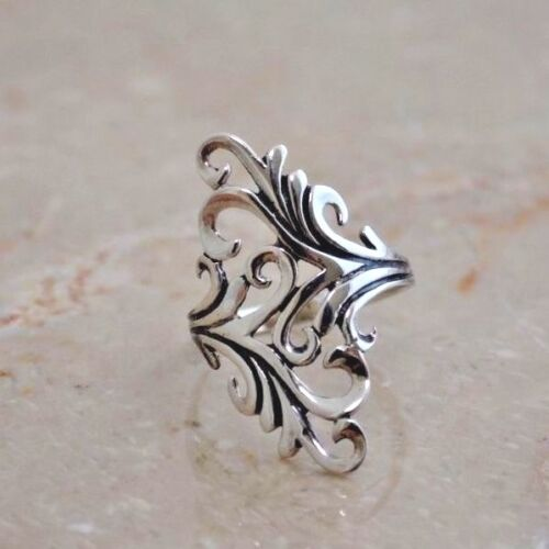 """LONG PRETTY FILIGREE  RING   1 1//4/"""" long  All Genuine Sterling Silver Size 10"""