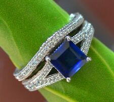 2.12CT PRINCESS CUT SAPPHIRE ENGAGEMENT RING & MATCH BAND 14K SOLID WHITE GOLD