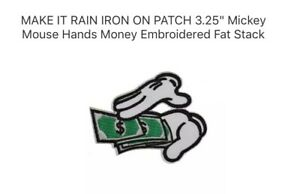 """MAKE IT RAIN IRON ON PATCH 3.25/"""" Mickey Mouse Hands Money Embroidered Fat Stack"""