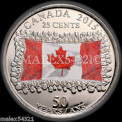 2015 CANADA FLAG 25 CENTS UNCIRCULATED