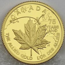 Canada 2015 $75 Norway's Gold Rescue WW2 Allied Gold 1/4 oz Pure Gold Proof Coin