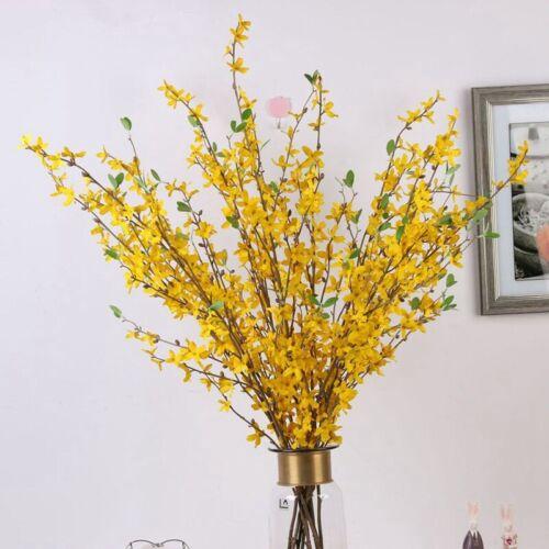 Artificial Yellow Forsythia Stem//Spray 81cm Faux Flowers Beautiful Decor Classic