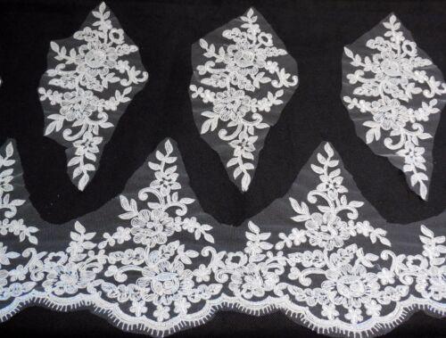Braut Hochzeit Weiß Elfenbein Wimper Blumen Spitzenrand /&5 Applikationen Set