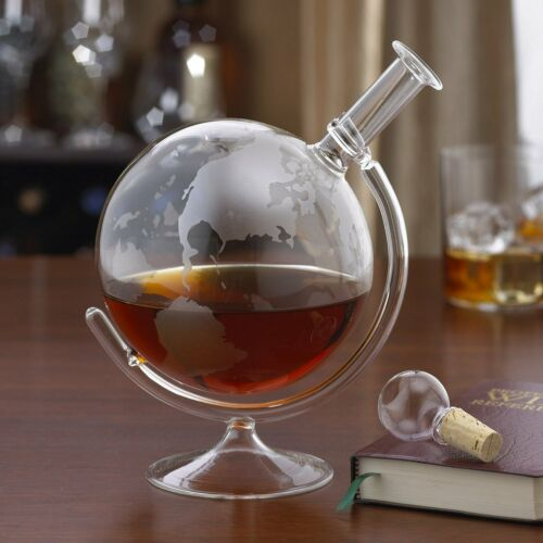 Wine Enthusiast Etched Globe Spirits Decanter Glass Decanter Stopper New Item