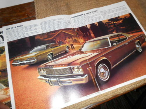 NOS Dealer Plymouth Brochure 1974 Fury Grand Sedan Coupe Fury II Fury III Fury I