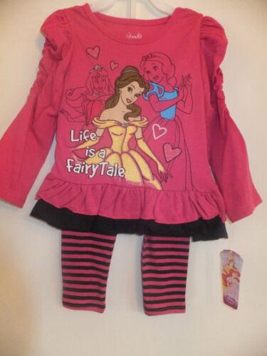 "NEW DISNEY PRINCESS GIRLS DRESS /& LEGGINGS /""LIFE IS A FAIRYTALE/"" PRINT 2-4 Yrs"