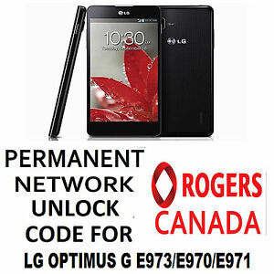 Details about LG PERMANENT NETWORK UNLOCK CODE FOR ROGERS LG OPTIMUS G E973  OR E971 OR E970
