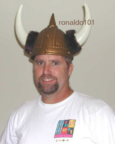 Details about  /Gold Viking Helmet Adult or Teen NEW Nordic Costume Fur Plastic Hat Helm VBS