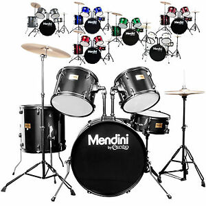 Mendini-5-Piece-Full-Size-Complete-Drum-Set-Black-Blue-Red-Green-Silver-White