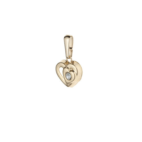 9ct Oro Amarillo Estampado Doble Forma de Corazón Colgante De Cristal//cadena Sin