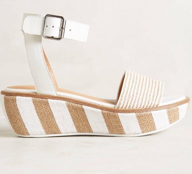 NIB Anthropologie KELSI DAGGER Striped Raffia Wedge Sandal Platform shoes 9.5