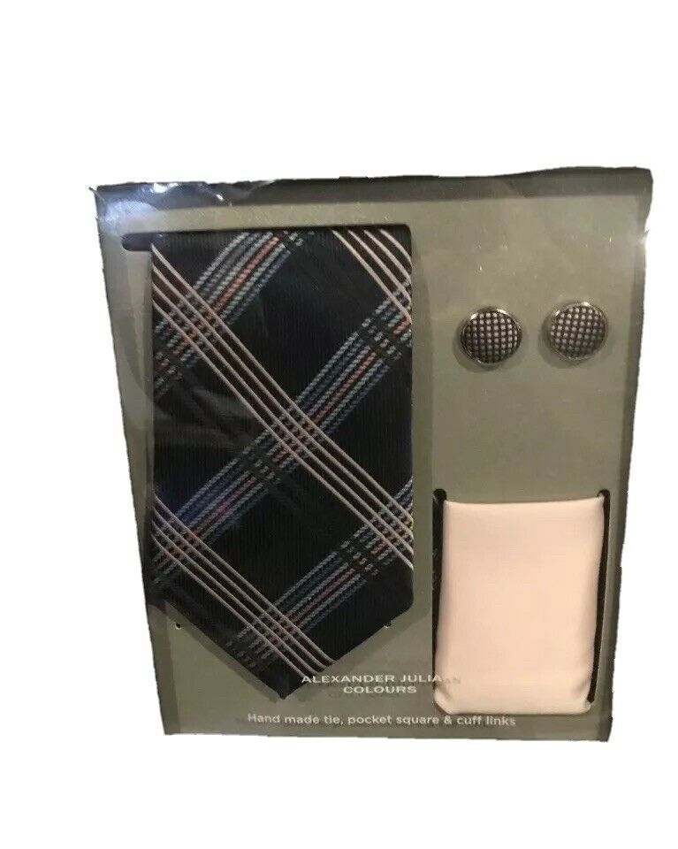 Alexander Julian Colours Hand Made Tie Pocket Square Cuff Links New in Box Navy