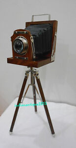 Vintage-Designer-Wooden-Camera-with-Tripod-Retro-Look-Nautical