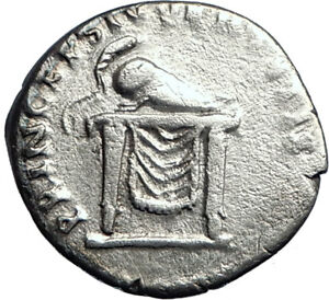 DOMITIAN-son-of-Vespasian-80AD-Silver-Ancient-Roman-Coin-Throne-Helmet-i74192