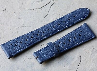 Contrasting stitching 22mm blue leather rally band & 22mm blue Swiss Tropic band