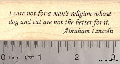 Abraham Lincoln Animal Welfare Word Rubber Stamp H16804 WM