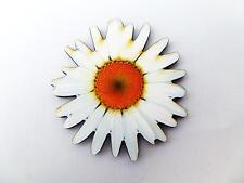 Gran vibrante De Madera Blanco Daisy Flor Broche Pin jardín de verano