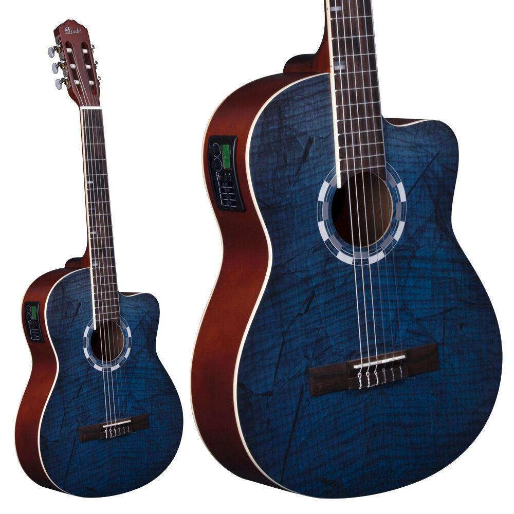 Lindo Picasso Blau elektroakustisch 960CEQ Klassische Gitarre Fichte Top + Case